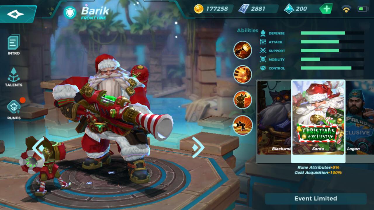 Barik Santa skin in Paladins Strike