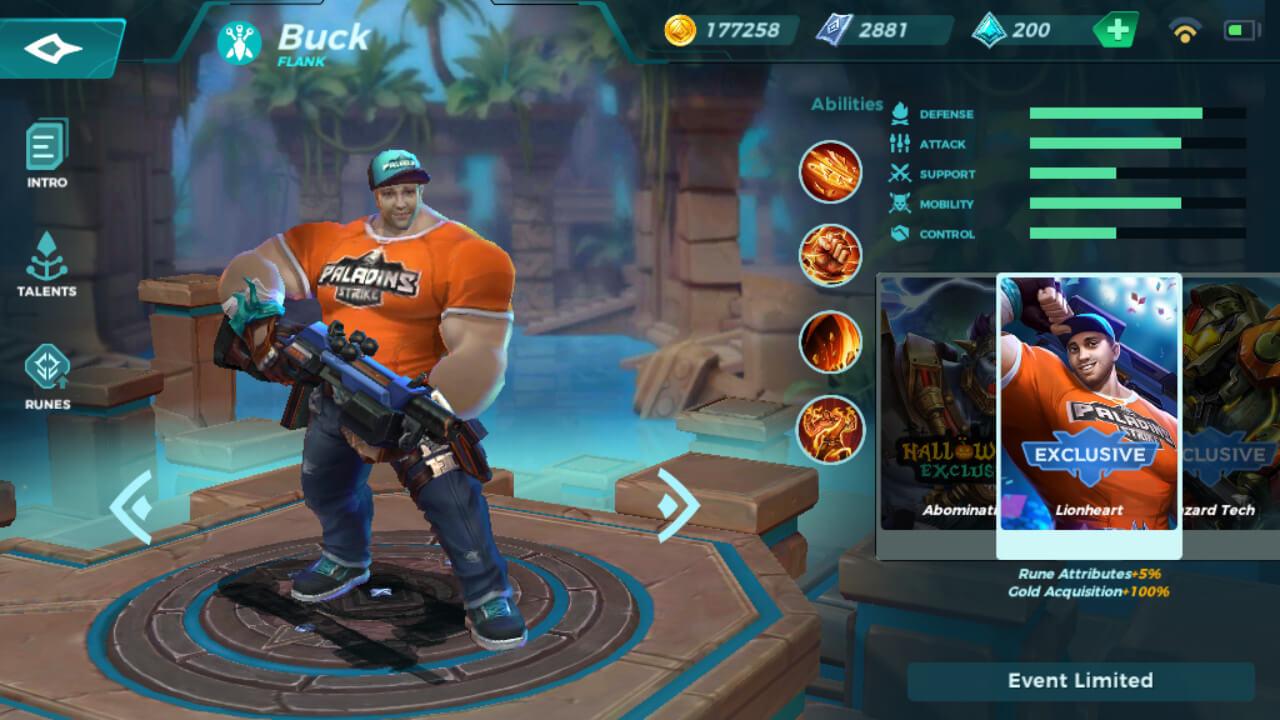 Buck Lionheart skin in Paladins Strike