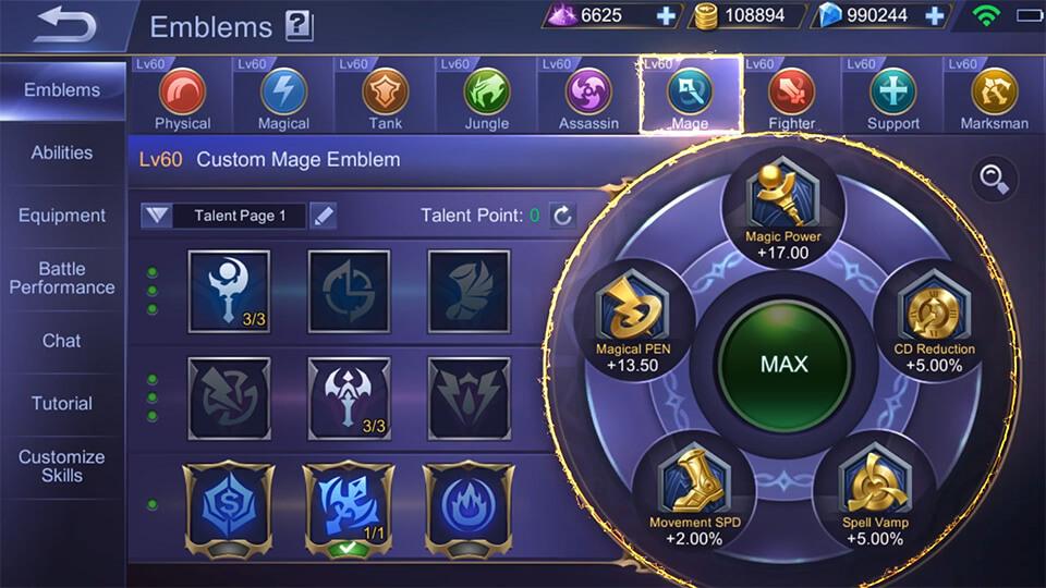 Mobile Legends: Bang Bang Chang'e Emblems recommended
