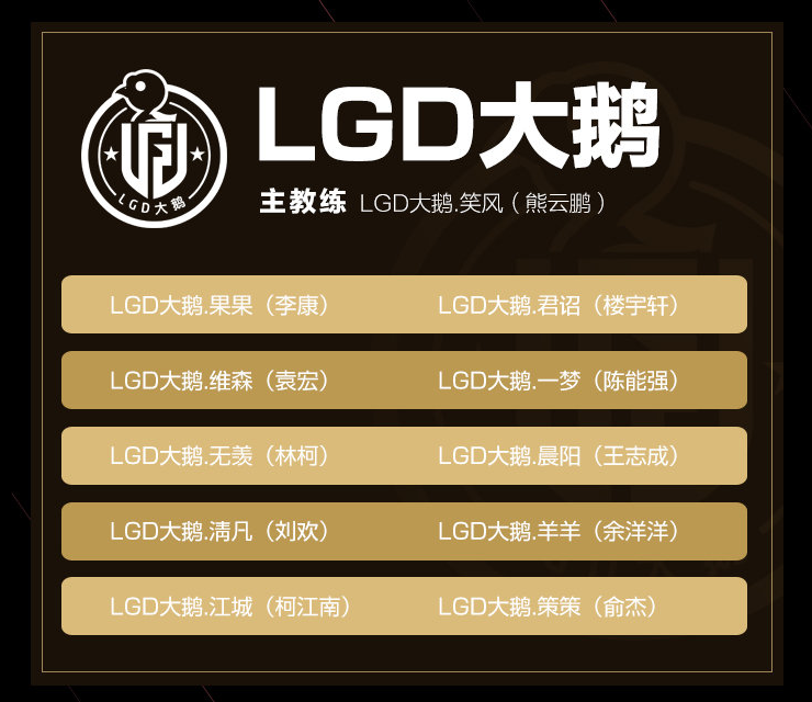 LGD Goose King Pro League Spring 2020 Roster