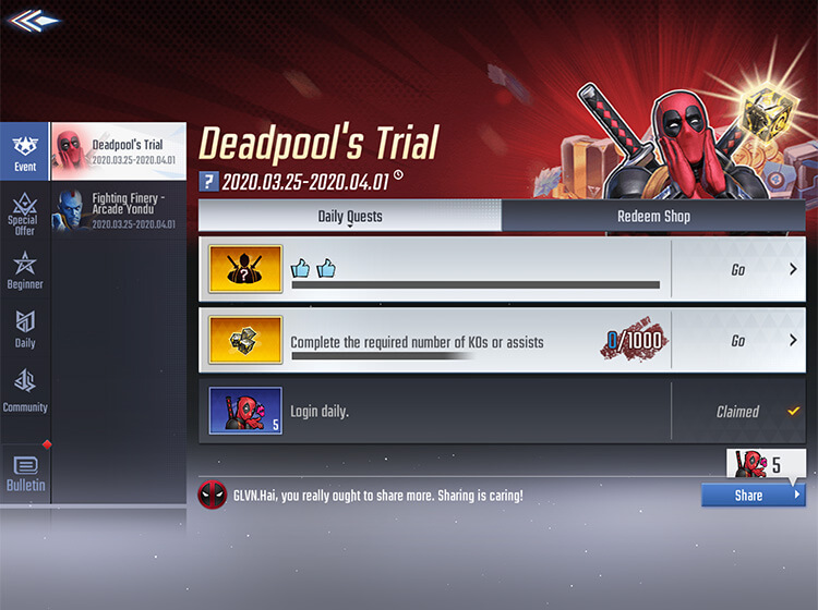 Deadpool Special Event MARVEL Super War March 26th 2020 Update