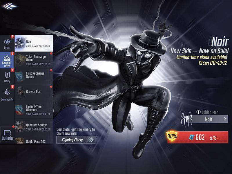 MARVEL Super War April 30th 2020 Update new skin Noir