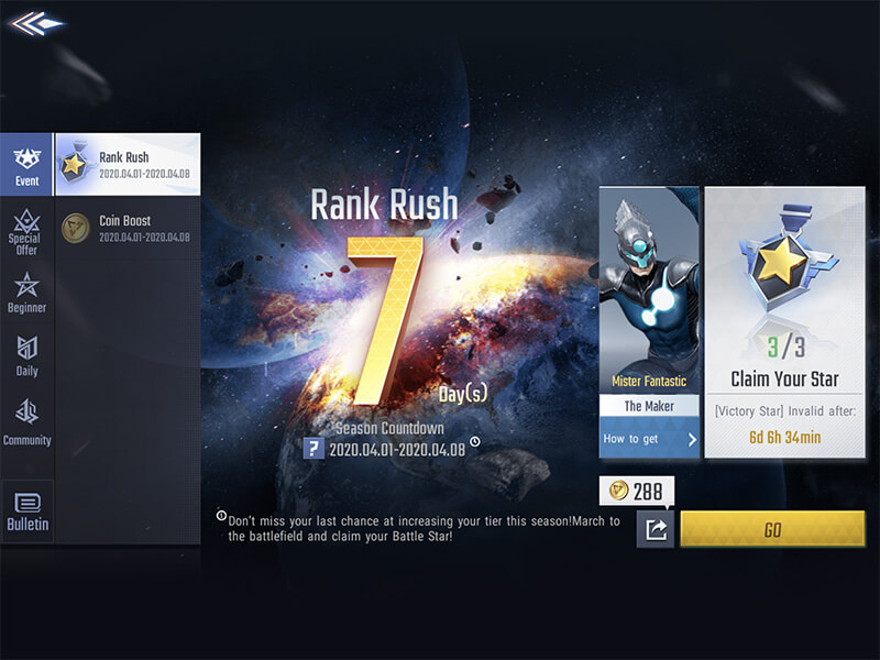 RANK RUSH EVENT