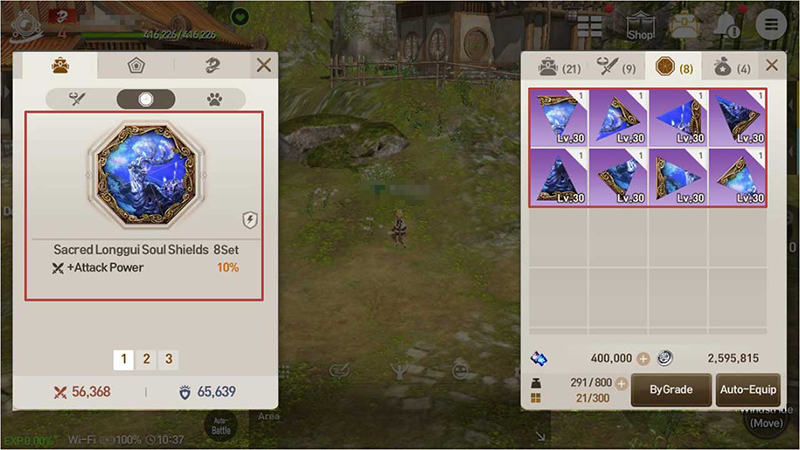 Set Bonuses activate when multiple items in a particular set are equipped at once. (Accessories / Soul Shields)