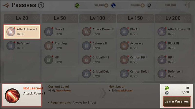 Learning Passives or increasing passive levels will increase character stats.