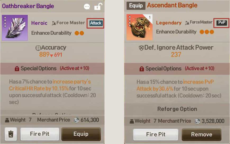 Special Options activate when equipment is enhanced to +10 or higher.