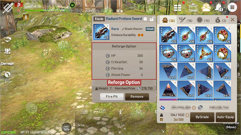 Reforge Options can be changed via reforging equipment, and the number of changeable options differs based on equipment grade.