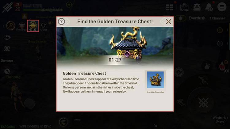 A notice message and notification icon will be displayed when a Golden Treasure Chest appears