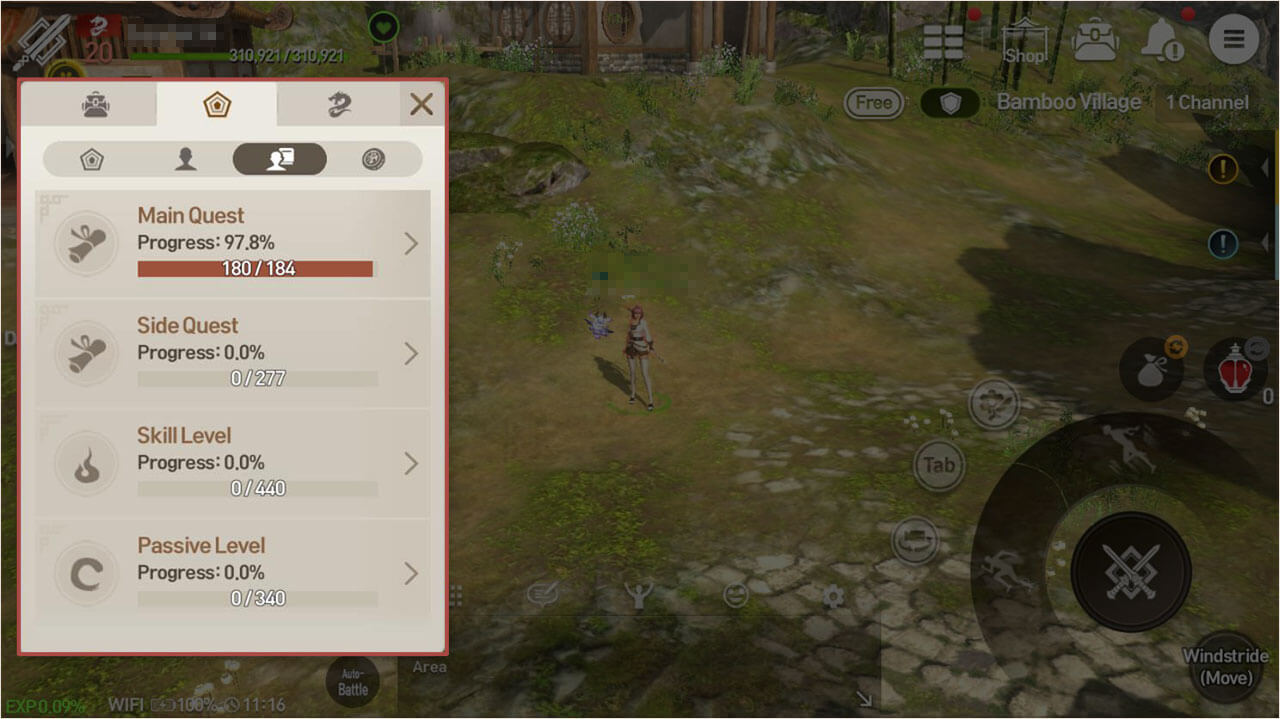 Check on the status of content that helps increase your character's stats through this tab