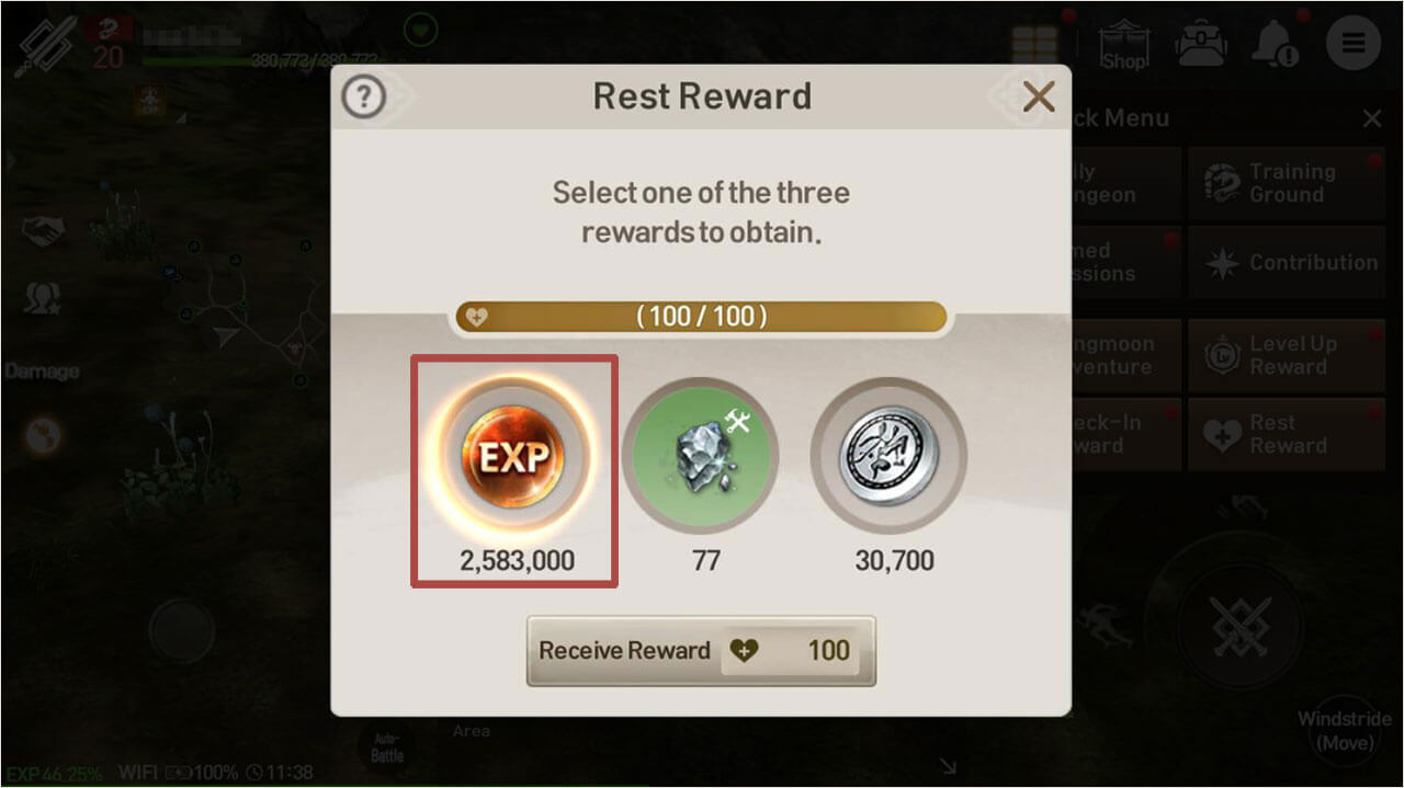 You can also use rest rewards, gained from time spent not logged into the game, to get more XP