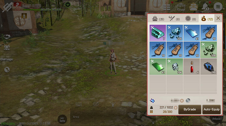 Equipment items (Soul Shields included) take up 1 slot each. Other items take up 1 slot as well, but stack with the same item.