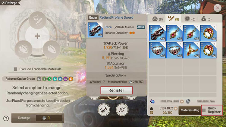 Select equipment to reforge from the Inventory