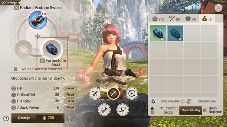 Tap the Reforge button to proceed with the reforging process. The required Forgestones increases based on equipment grade.