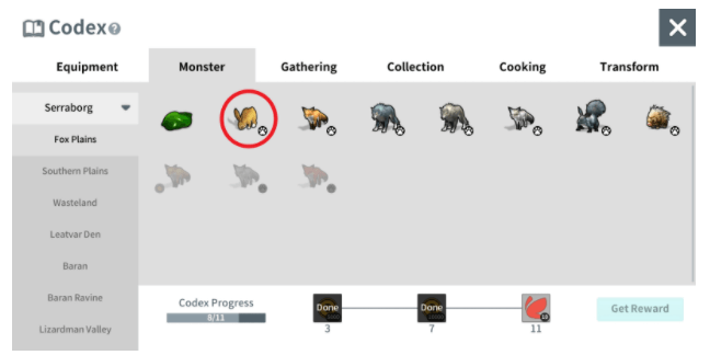 When a monster is registered to the Codex, that monster's HP will be displayed during combat