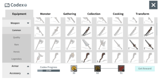 Equipment and items can be obtained through adventures or crafting and registered to the Codex