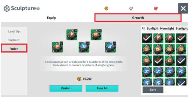 You may obtain the same Sculpture Piece of the same grade after performing Fusion