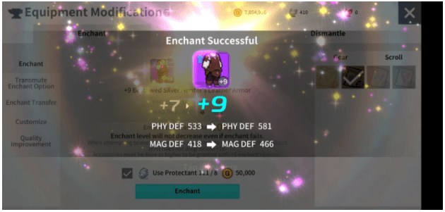 Enchantment has a rate of success, and starting from +10 the enchant stage does not drop below 10.