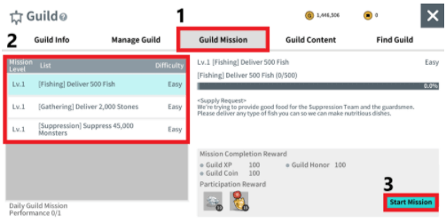 The Guild Mission to be performed can be selected by the Guild Leader and the Vice Guild Leader