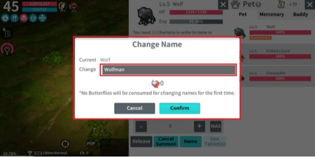 Go to Name to give pets a unique name or change a pet's name.