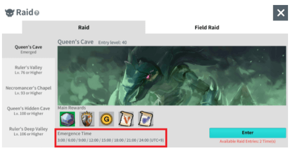 Raid Monster Emergence Time