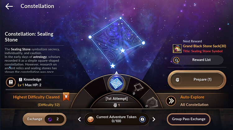 Use Adventure Token x100 to gain a pass and explore a Constellation